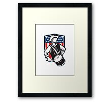 American Patriot Drummer With Flag Framed Print