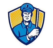 Policeman Police Officer Baton Shield Retro by patrimonio