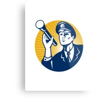Policeman Security Guard With Flashlight Retro Metal Print