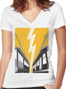 Vintage and Modern Streetcar Tram Train Women's Fitted V-Neck T-Shirt