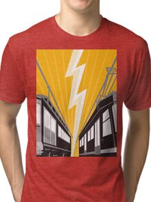 Vintage and Modern Streetcar Tram Train Tri-blend T-Shirt