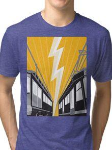 Vintage and Modern Streetcar Tram Train Tri-blend T-Shirt