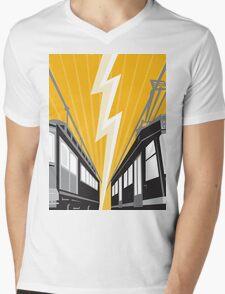 Vintage and Modern Streetcar Tram Train Mens V-Neck T-Shirt