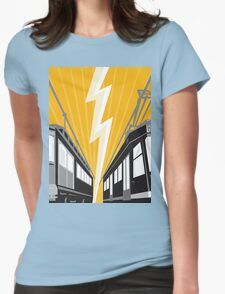 Vintage and Modern Streetcar Tram Train Womens Fitted T-Shirt