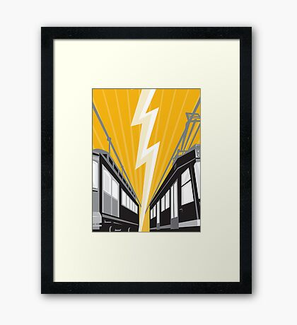 Vintage and Modern Streetcar Tram Train Framed Print
