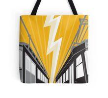 Vintage and Modern Streetcar Tram Train Tote Bag