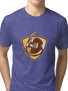 Welder Visor And Welding Torch Retro Shield Tri-blend T-Shirt