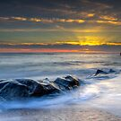 Smooth Sunset - Pebble Beach in Pescadero, California by Toby Harriman