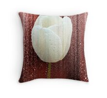 White Tulip on Red Throw Pillow