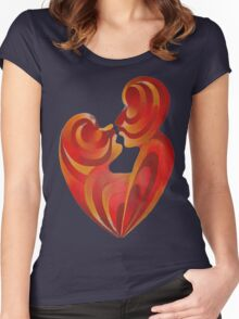 Lovers Kiss And Their Bodies Form A Love Heart Isolated Women's Fitted Scoop T-Shirt