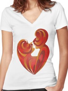 Lovers Kiss And Their Bodies Form A Love Heart Isolated Women's Fitted V-Neck T-Shirt