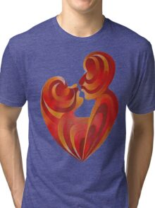 Lovers Kiss And Their Bodies Form A Love Heart Isolated Tri-blend T-Shirt