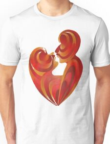 Lovers Kiss And Their Bodies Form A Love Heart Isolated Unisex T-Shirt