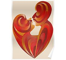 Lovers Kiss And Their Bodies Form A Love Heart Isolated Poster