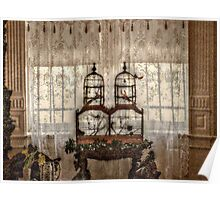 Victorian Bird Cages and Lace Curtians Poster