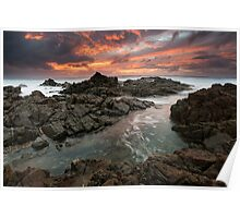 """""""Amidst the Flames of Dawn"""" ∞ Hastings Point, NSW - Australia Poster"""