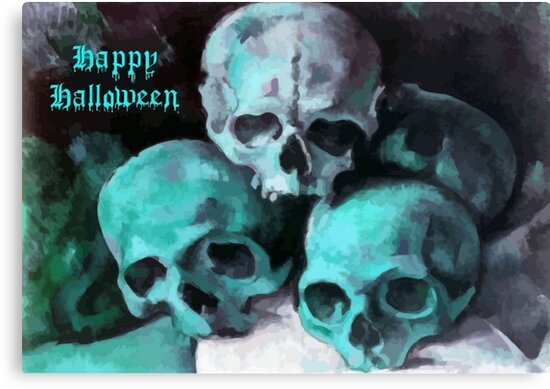 Happy Halloween Pile of Skulls in Teal  by taiche