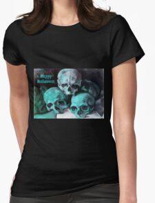 Happy Halloween Pile of Skulls in Teal  T-Shirt