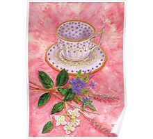 Tea with a floral bouquet Poster