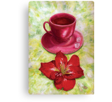 Tea with sugar cubes and fiery red lilies Canvas Print
