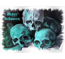Happy Halloween Pile of Skulls in Teal Fringed Border Poster