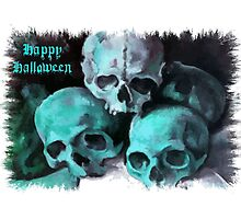 Happy Halloween Pile of Skulls in Teal Fringed Border Photographic Print
