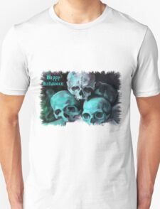 Happy Halloween Pile of Skulls in Teal Fringed Border T-Shirt