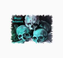 Happy Halloween Pile of Skulls in Teal Fringed Border Unisex T-Shirt