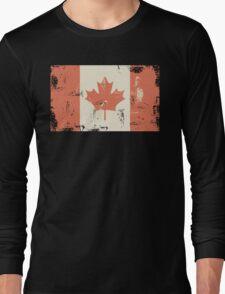 Grungy Canadian Flag Long Sleeve T-Shirt