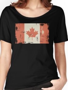 Grungy Canadian Flag Women's Relaxed Fit T-Shirt