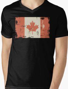 Grungy Canadian Flag Mens V-Neck T-Shirt