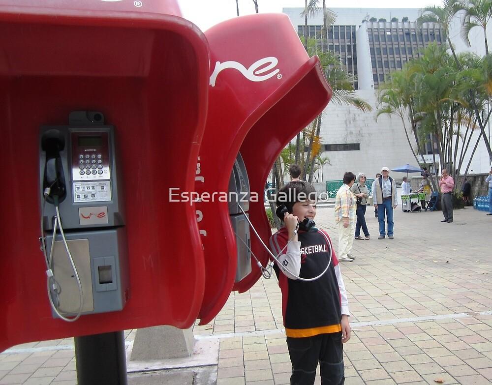 Calling....calling.........using the public telephones by Esperanza Gallego