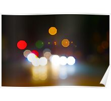 Abstract night scene on city road Poster
