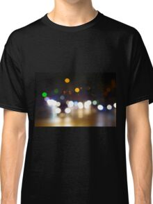 Abstract blurred night scene on city road Classic T-Shirt