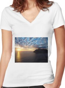 Hout Bay Sunset Women's Fitted V-Neck T-Shirt