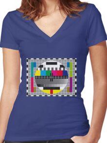 TV transmission test card Women's Fitted V-Neck T-Shirt
