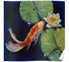 Koi and White Lily Poster
