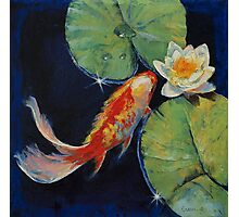 Koi and White Lily Photographic Print