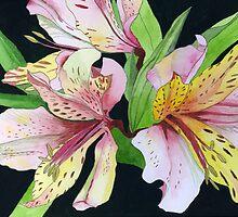 Pink and Yellow Lilies by Esmee van Breugel
