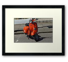 Orange Vespa Framed Print
