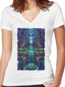 Waters Fall Women's Fitted V-Neck T-Shirt
