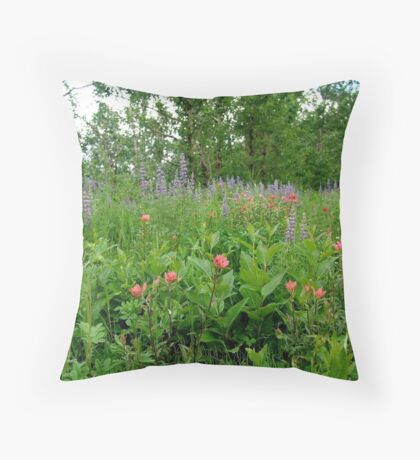Lupines, Indian Paintbrush and Aspens Throw Pillow