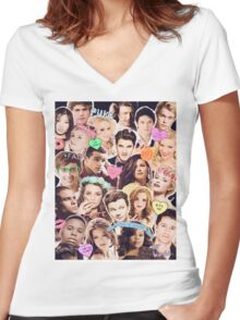 glee cast collage Women's Fitted V-Neck T-Shirt