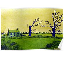 353 - LAVEROCK HALL FARM, NORTHUMBERLAND - DAVE EDWARDS - WATERCOLOUR & COLOURED PENCILS - 2012 Poster