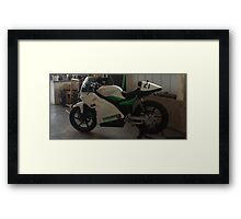 World first Electric Motorcycle to win its heat in Manx TT Races Framed Print