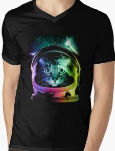 Astronaut Cat V.II Mens V-Neck T-Shirt
