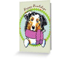 Australian Shepherd Happy Howlidays Christmas Card Greeting Card