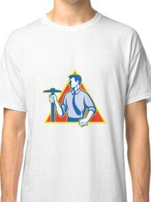 Architect Holding T-Square Side Retro Classic T-Shirt