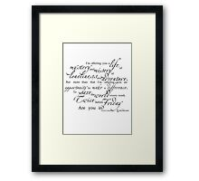 Librarians 'A Life...' Quote black text Framed Print
