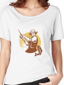Fly Fisherman Fishing Retro Woodcut Women's Relaxed Fit T-Shirt
